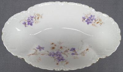 Hermann Ohme Purple & White Floral Porcelain Relish Dish Circa 1920 - 1930 - Purple Dishes