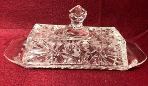"""Pressed Crystal Glass Butter Dish With Cover Lid 8 5/8 """" Long"""