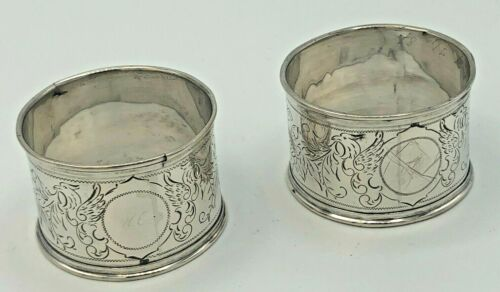 """Pair of old Sterling Napkin Rings with pretty engraved pattern , 1.25"""" wide band"""