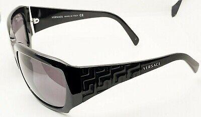 Versace MOD Sunglasses Shiny Black Frames Gray Lens 4049 GB1/87 Womens Mens