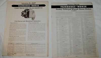 Vintage Original Fairbanks Morse Magneto Fm-j4a Fm-j4b Repair Bulletin Part List