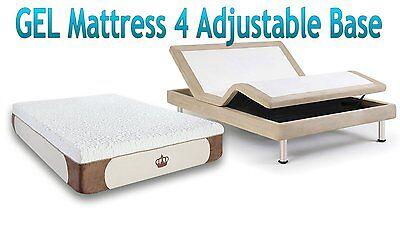 """DYNASTY MATTRESS 12"""" Split King GEL Memory Foam for Adjustable BED FREE 2 Pillow"""