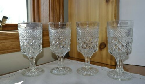 Set of 4 Anchor Hocking WEXFORD Water Goblets