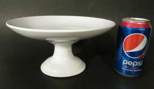 """Antique English PRATT SIMPSON White Ironstone Pottery 9"""" Pedestal Footed Compote"""