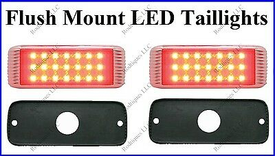 Flat Mount Red LED Taillights Roll Pan Bumper Custom Chevy Truck 41FR