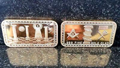 BEAUTIFUL 1 OZ 24KT GOLD PLATED MASONS BAR!! FREEMASONRY MASONIC BAR!! -