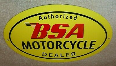 "VINTAGE BSA MOTORCYCLE DEALER 12"" METAL GASOLINE OIL SIGN BIRMINGHAM SMALL ARMS!"