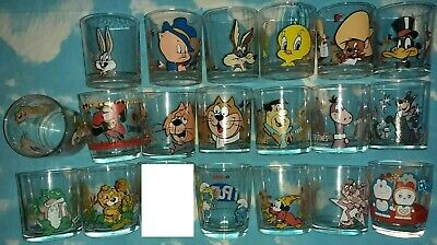 18 NUTELLA FERRERO GLASS CARTOON LOONEY TUNES,JETSONS,FLINTSTONES,TOP CAT,DISNEY
