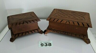vintage wooden pair of handcrafted carved wooden boxes