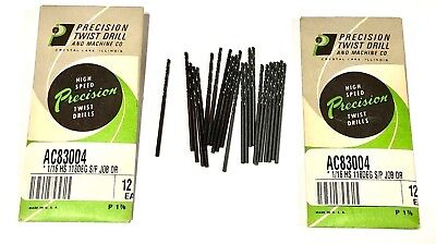 """24 Precision Twist 1/16"""" Drill Bits 118 Deg Split Point High Speed Steel USA"""