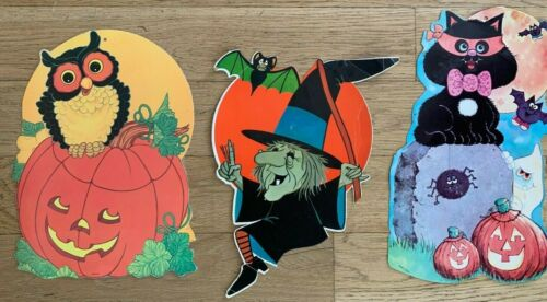 Vintage Halloween Die Cut Decorations Lot of 3 - Witch, Cat, Pumpkins and Owl