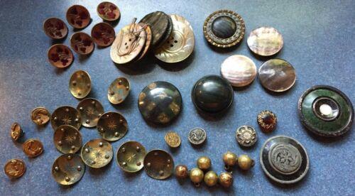 Antique Victorian LOT Buttons Metal, Velveteen Velvet, Brass, Celluloid, Dragon
