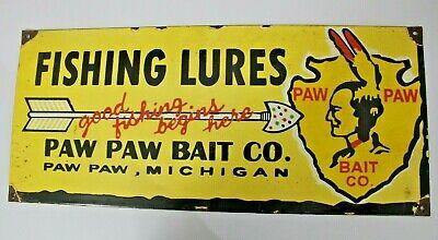 Vintage Reproduction Fishing Lures advertisement enamel sign board Michigan