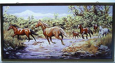 Glassmasters Wild Horses Vintage Art Glass Suncatcher Brass (Horse Suncatcher)