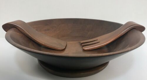 """Vtg Solid American Walnut Wood Salad Serving Large Bowl 14"""" w/ Utensiles & base"""