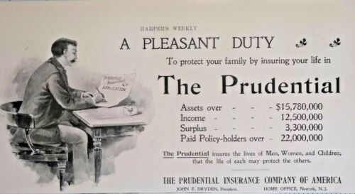 1896 The Prudential Insurance Company Agent Art  John Dryden Vintage Print Ad