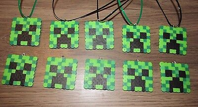 MINE Birthday Party Favors Lot of 10 Pixel BRACELETS Beads Creep Craft](Mine Craft Party Supplies)