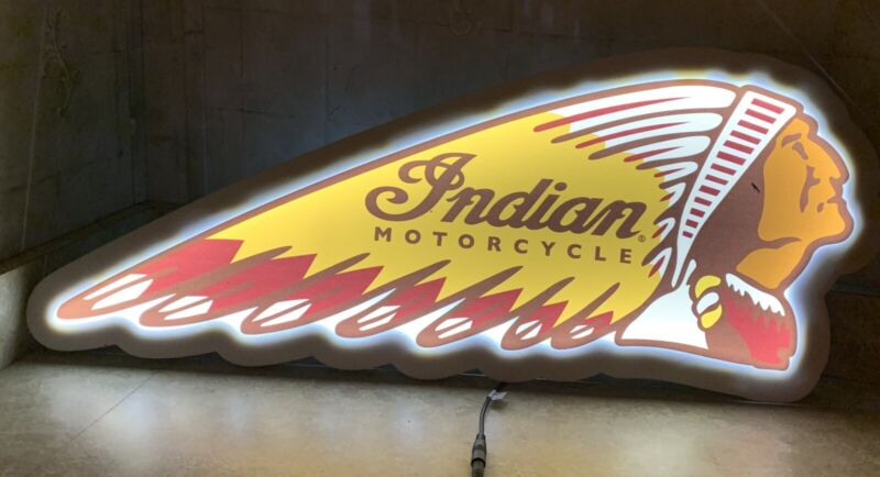 INDIAN MOTORCYCLE 31X12 LIGHT UP SIGN GREAT MAN CAVE ITEM