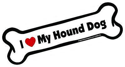 Imagine This Bone Car Magnet, I Love My Hound Dog, 2-Inch by 7-Inch