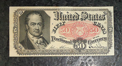 US 50c fractional currency bank note 1866 UNC print error