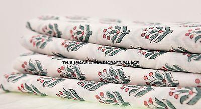 5 Yards Hand block Print Fabric Indian Cotton Jaipur Sanganer Natural Color