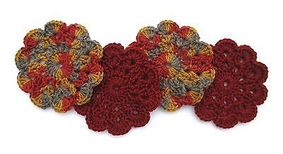 Hand-Crocheted Mini Doily Coasters, Set of 4, Carmine Red, Autumn Mist, NEW!!