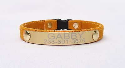 Personalized Leather Cat Collar Breakaway Buckle Engraved Name Custom Gold Plate