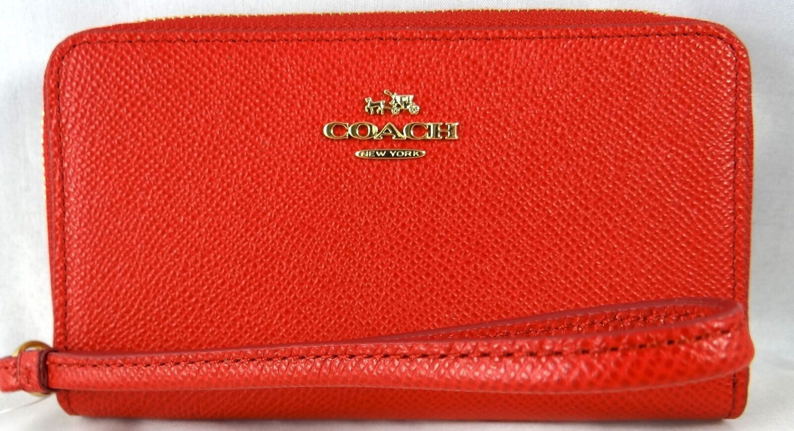 Coach Boxes Embossed Wristlet Red Leather Universal Wallet