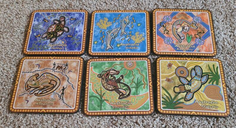 "Australian  Aboriginal Art~ Set Of 6 Coasters (4x4"")"