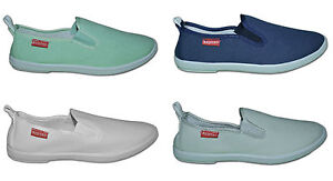 Ladies-Canvas-Pumps-Plimsoles-Navy-Light-Green-White-Green-Size-3-to7-RT15