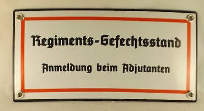 """Hochwertiges Emaille Schild """"Regimentsgefechtsstand"""" Kommandeur Bunker Division"""