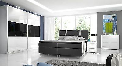 Komplett Schlafzimmer Hochglanz RivaBox Kleiderschrank, Bett, 2 Nachttische - Schlafzimmer Leder Fußteil