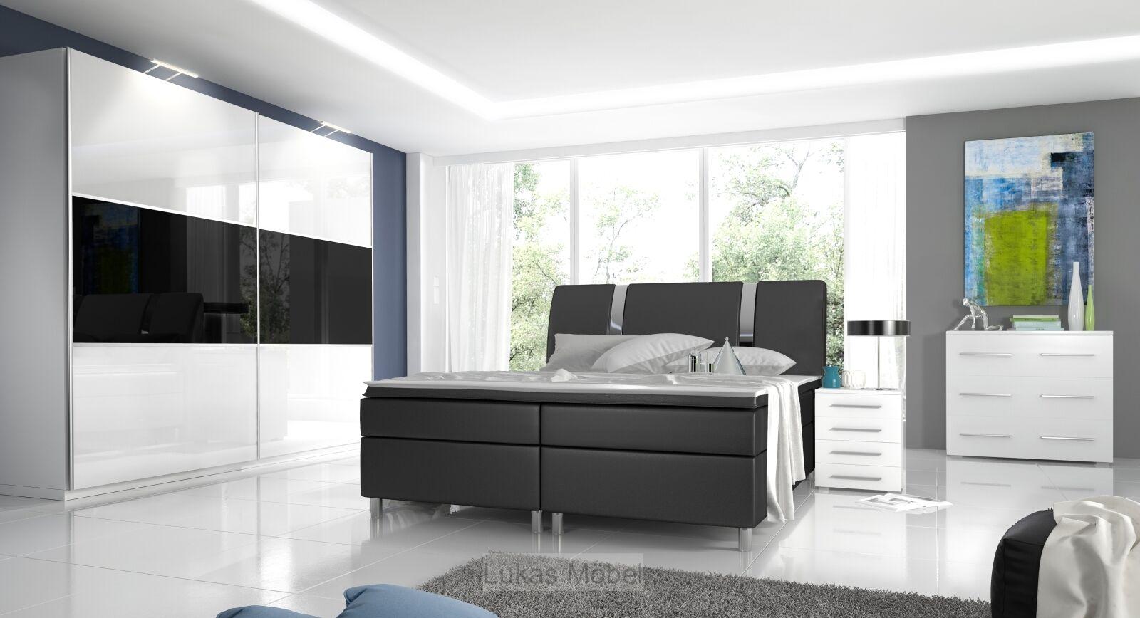 Komplett Schlafzimmer Hochglanz RivaBox Kleiderschrank, Bett, 2 Nachttische 1