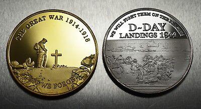 Pair of WW1 Armistice & WW2 Churchill D-Day Commemoratives. 24ct Gold, Silver