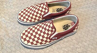 Mens Burgundy And Cream Check Vans
