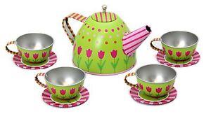 Happy Homes Kids Vintage Style 10 Piece Tin Teaset Childrens Toy Tea Set