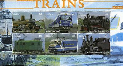 Gambia 2002 MNH World of Trains 6v M/S Railways Züge Trenes Treni Chemin de Fer