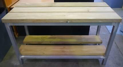 New Galvanised Steel Pine Timber Workbench Shelf Storage Garage