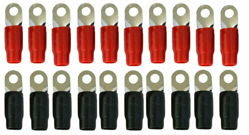 SoundBox 0 Gauge Ring Terminal 20 Pack For 1/0 AWG Wire - Red/Black Boots- 5/16