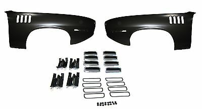FENDER & CHROME GILLS & WH & BACKING PLATES CUDA 71 E-BODY FRONT LEFT & RIGHT
