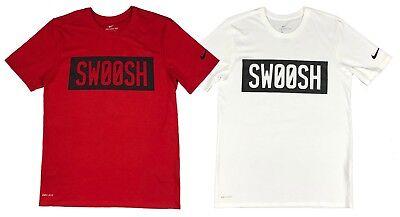Nike Mens Dri Fit Swoosh Block Graphic Shirt Red/White New
