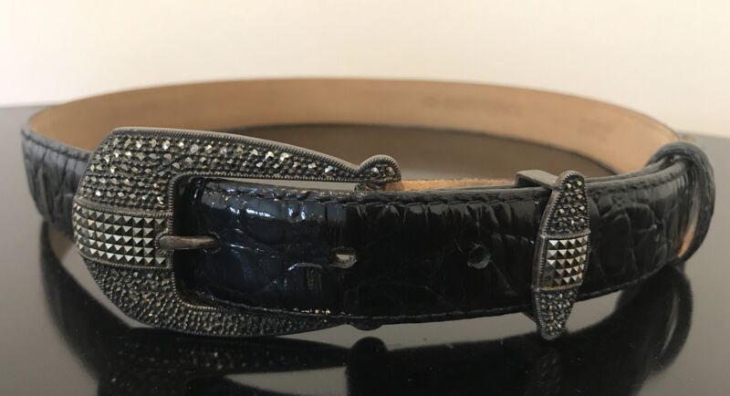 Judith Jack Sterling Silver Belt Buckle & Black Leather Belt Gemstones Size M