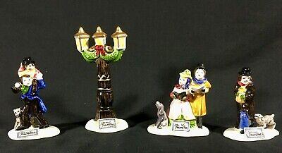 Vintage Dickens Christmas Ornament Carolers SET OF 3 + Lamppost NIB Korea