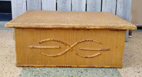 Antique Victorian Wood Wicker Bamboo Sewing Jewelry Storage Organizer Box & Tray