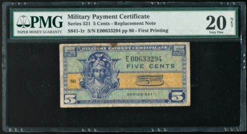 Series 521 5 Cents MPC Military Payment Certificate PMG NET VF20 *Replacement*
