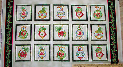 "Christmas Elegance Tree & Ornaments Fabric Panel 23""   #9934 for sale  Shipping to Canada"