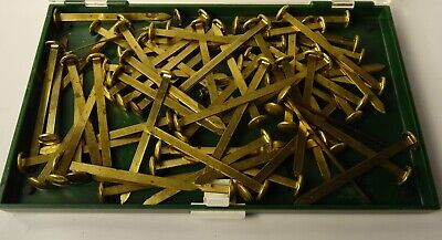 Lot Of 65 3 Vintage Brass Paper Fasteners In A Plastic Box