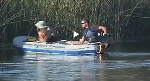 9' inflatable boat w. motor mount and trolling motor etc.