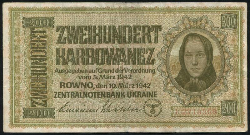 UKRAINE - 200 Karbowanez Karbonvantsiv 1942 - WW2 Banknote Note - P 56 P56 (F)