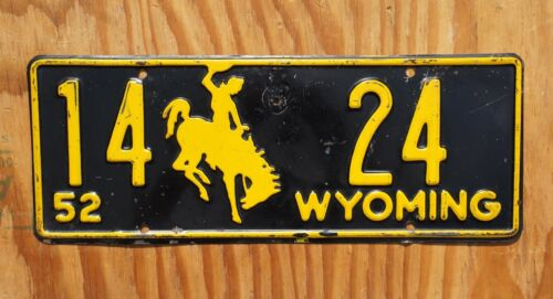 1952 Wyoming Cowboy Horse License Plate Low # 14 - 24
